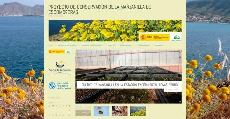 Detalle del blog del Proyecto de conservación de la manzanilla de Escombreras