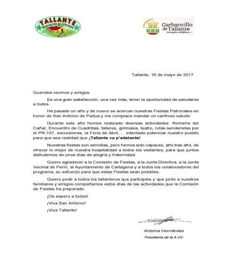 Carta a los socios